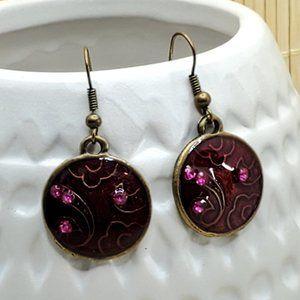 Antiqued Enamel Crystal Earrings Red Pink Round